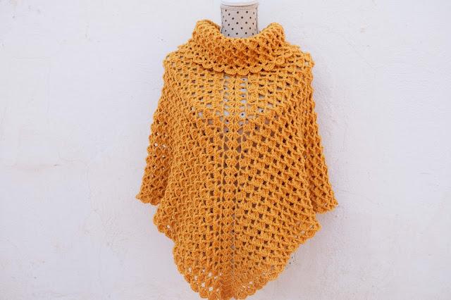 4-Imagen Crochet Poncho cuello de tortuga adulto a crochet y ganchillo y Majovle Crochet
