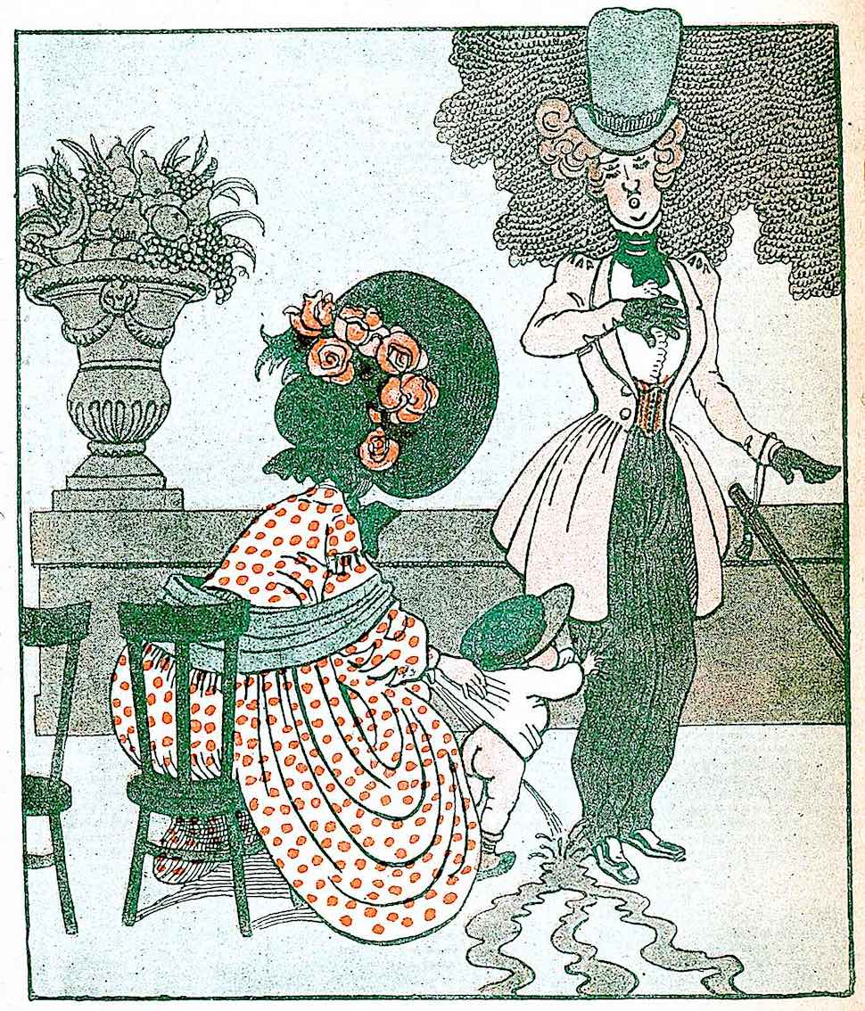 a 1906 cartoon of a baby peeing on a stranger in a park