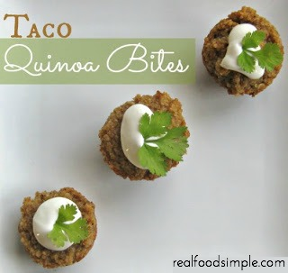 Taco quinoa bites are a simple, healthy snack to have on hand. These are made with only 3 real food pantry ingredients! | realfoodsimple.com