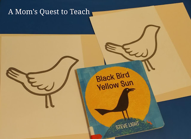 Black Bird Yellow Sun book; clipart of bird