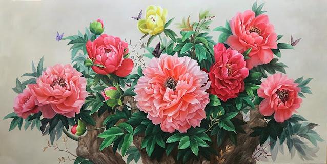 vẽ tranh sơn dầu hoa mẫu đơn
