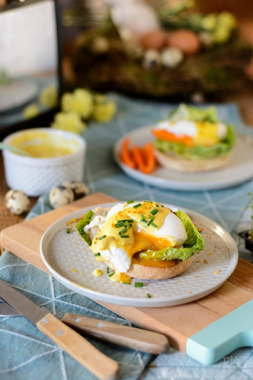 Eggs Benedict mit geräucherter Forelle und würziger Sauce Hollandaise à la Franz Hose, Ina Is(s)t, Dipster