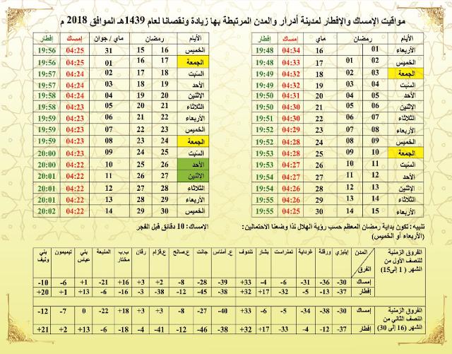 تحميل امساكية رمضان 2018 مدينة ادرار و المدن المرتبطة بها