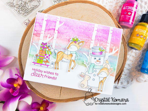 Holiday wishes to deer friends by Crystal features Festive Fawns, Forest Scene Builder, and Forest Scene Builder by Newton's Nook Designs; #newtonsnook, #christmas, #cardmaking