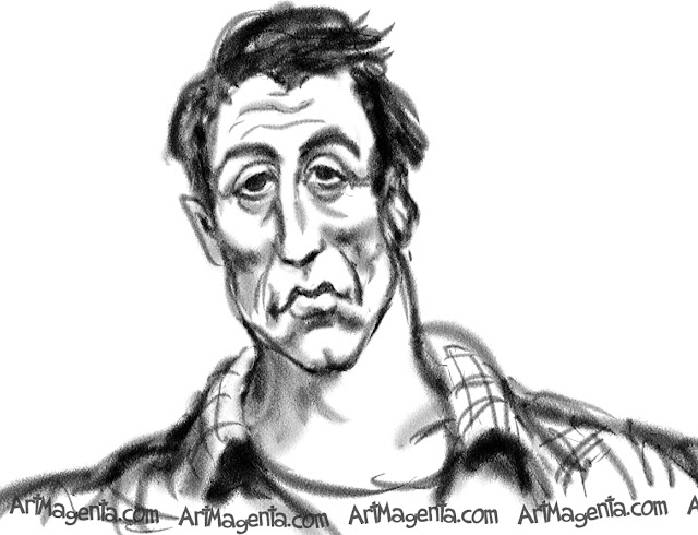 Sylvester Stallone caricature cartoon. Portrait drawing by caricaturist Artmagenta