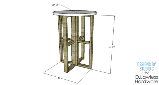 DIY Round Table Overall Dimensions