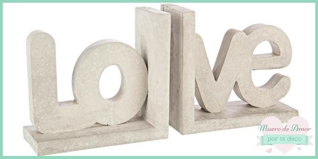 Decoración sujetalibros de cemento