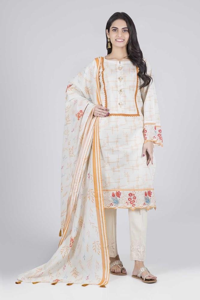 Bonanza Satrangi off white & Brown Lawn suit