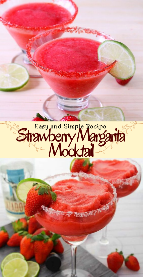 Strawberry Margarita Mocktail  #healthydrink #easyrecipe #cocktail #smoothie