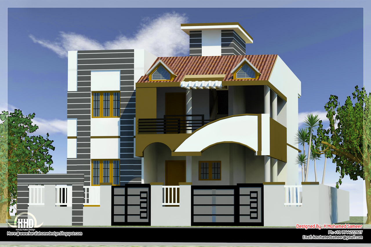 3 bedroom tamilnadu style house design kerala home for Tamilnadu house designs photos