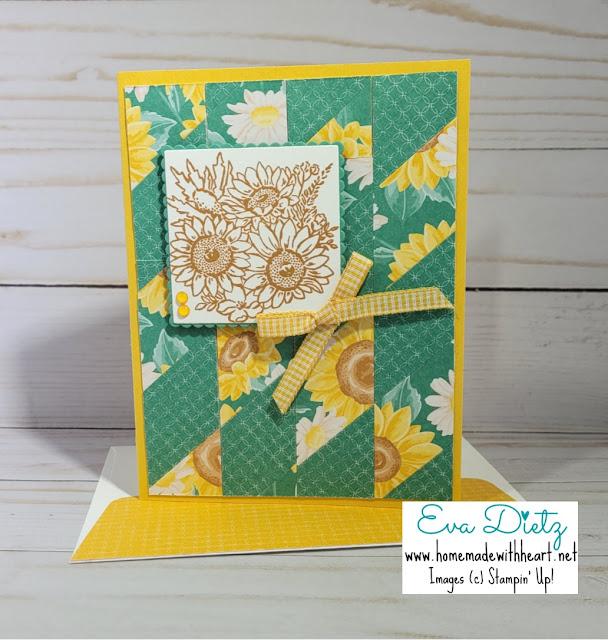 Sunflower Bouquet Chevron Quilt Card