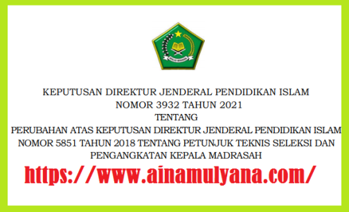 Persyaratan Terbaru Calon Kepala Madrasah (Kamad) Teruang dalam Kepdirjenpendis Nomor 3932 Tahun 2021