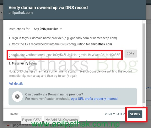 Verify the domain ownership with the DNS record, what is sitemap, anil pathak, pathaks blog