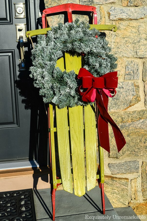 DIY Front Porch Winter Sled Makeover