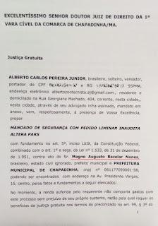 Vereador de Chapadinha, Alberto Carlos aciona prefeito na justiça