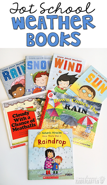 5 great books to read aloud for a weather theme. Perfect for tot school, preschool, or even kindergarten.