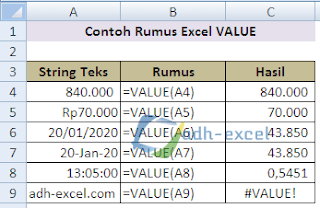 rumus VALUE Excel