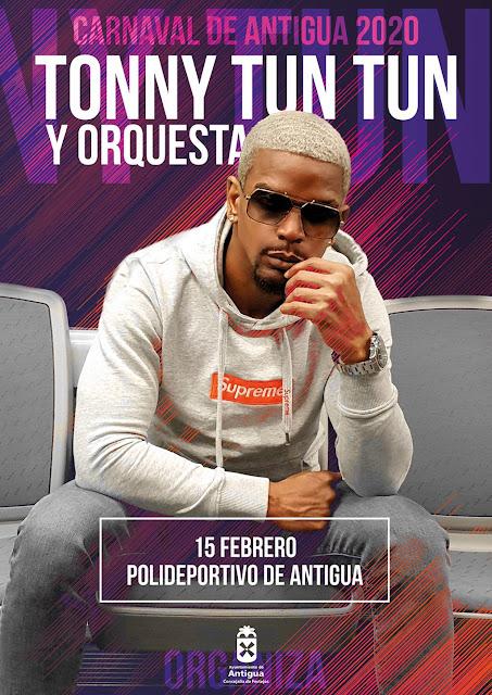 Cartel TonnyTunTun redes - Fuerteventura.- Gran Gala Drag en  Antigua y Toni Tun Tun despide el Carnaval 2020