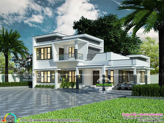 Flat roof modern house rendering