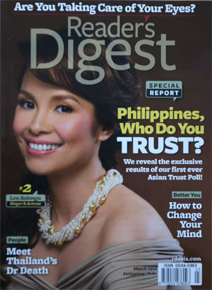 March 2010 cover of Readers Digest Asia featuring the 100 most trusted Pinoys.