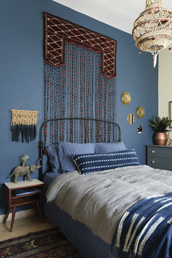 interiors, bohemian spirit and indigo colors