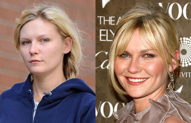 Kirsten Dunst with n without makeup