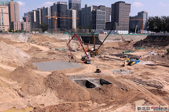 Construction picture of the site where China Zun (CITIC Plaza) by TFP Farrells, Beijing, China is set to rise. Still big hole in the ground