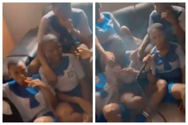 Social media users reacts as Group of School girls were seen smoking Shisha (Video)