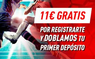 Sportium te dobla tu primer depósito 100€ y te regala 11€ para el clásico hasta 3 marzo 2019