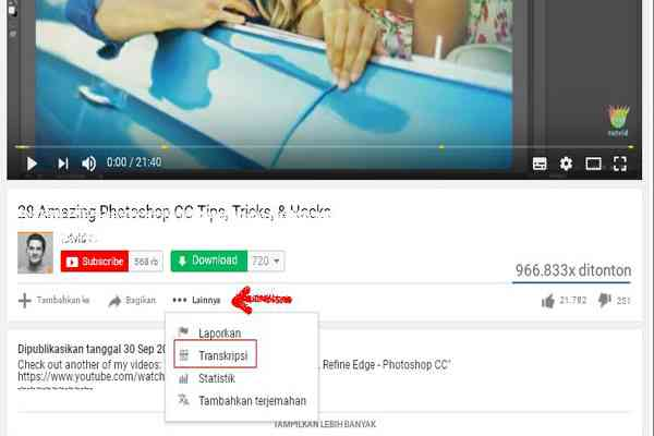 Transkrip Video Youtube