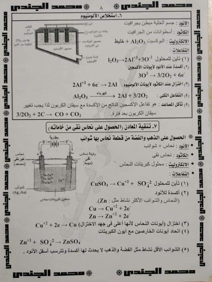 مراجعة الكيمياء للصف الثالث الثانوى |  تلخيص وملاحظات هامة في الكهربية  9