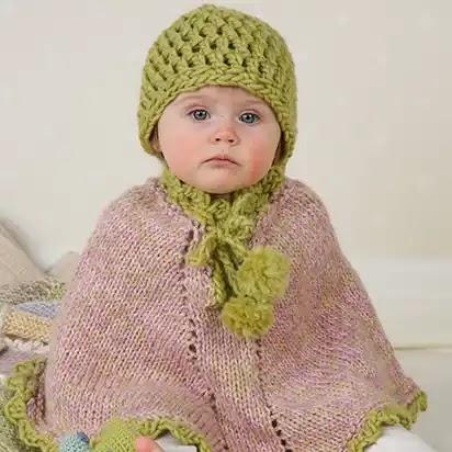Poncho niña a Crochet y Dos Agujas