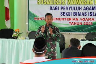 Kasdim Kodim 0718/Pati Hadiri Giat Sosialisasi Wawasan Kebangsaan di Kemenag Pati