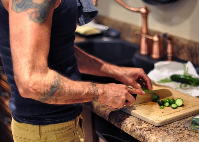 chopping cucumbers