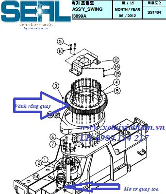 Vành răng quay toa - mâm quay toa- mô tơ quay toa cẩu Dongyang SS1404-SS1406 Hàn quốc uy tín giá rẻ