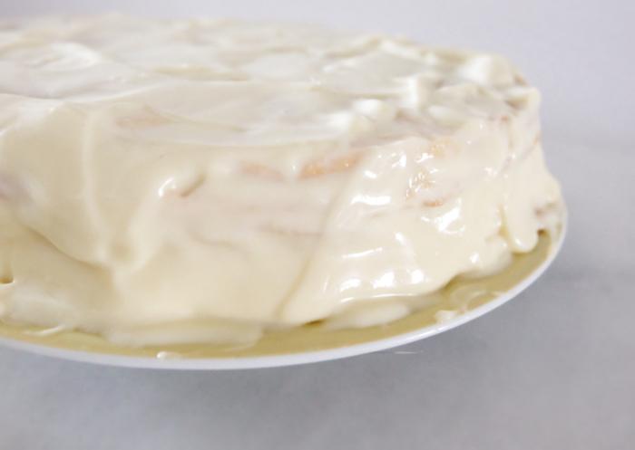 custard covering entire cake