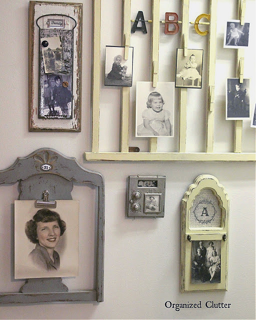 Photo of a repurposed photo holder gallery wall