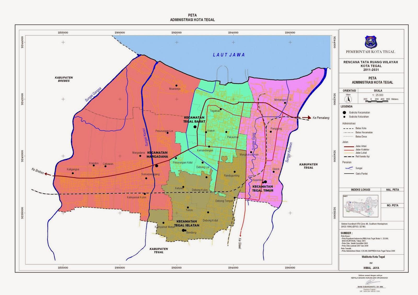 > Peta Lengkap Indonesia: Peta Administrasi Kota Tegal