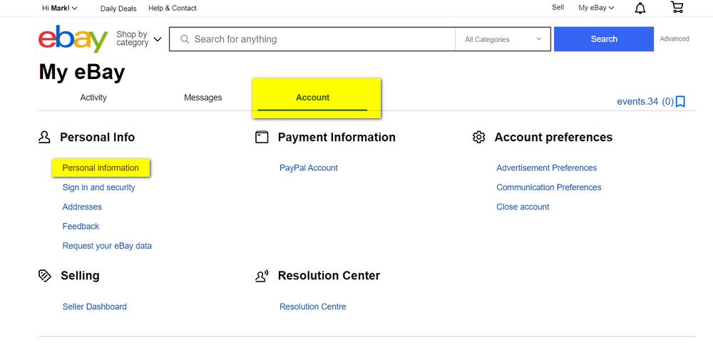 eBay, eBay Account Settings