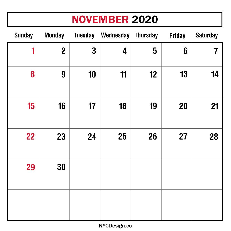 November 2020 Calendar Printable.New York Web Design Studio New York Ny Monthly Calendar November