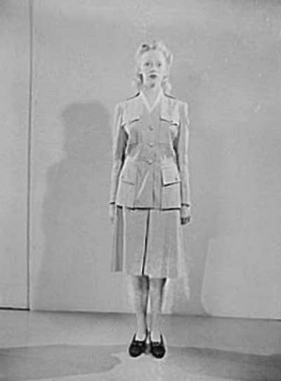 Woman wearing Civil Defense Summer Parade Uniform