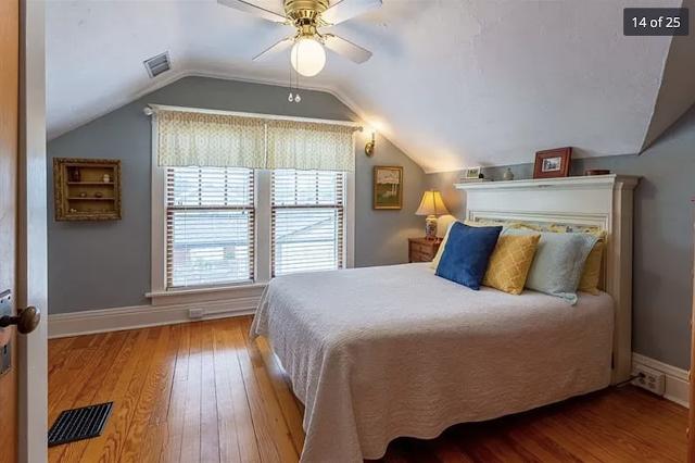 color photo of upstairs bedroom with two windows and beautiful hardwood floors, Sears Kilbourne 201 Iola Street Glenshaw Pennsylvania