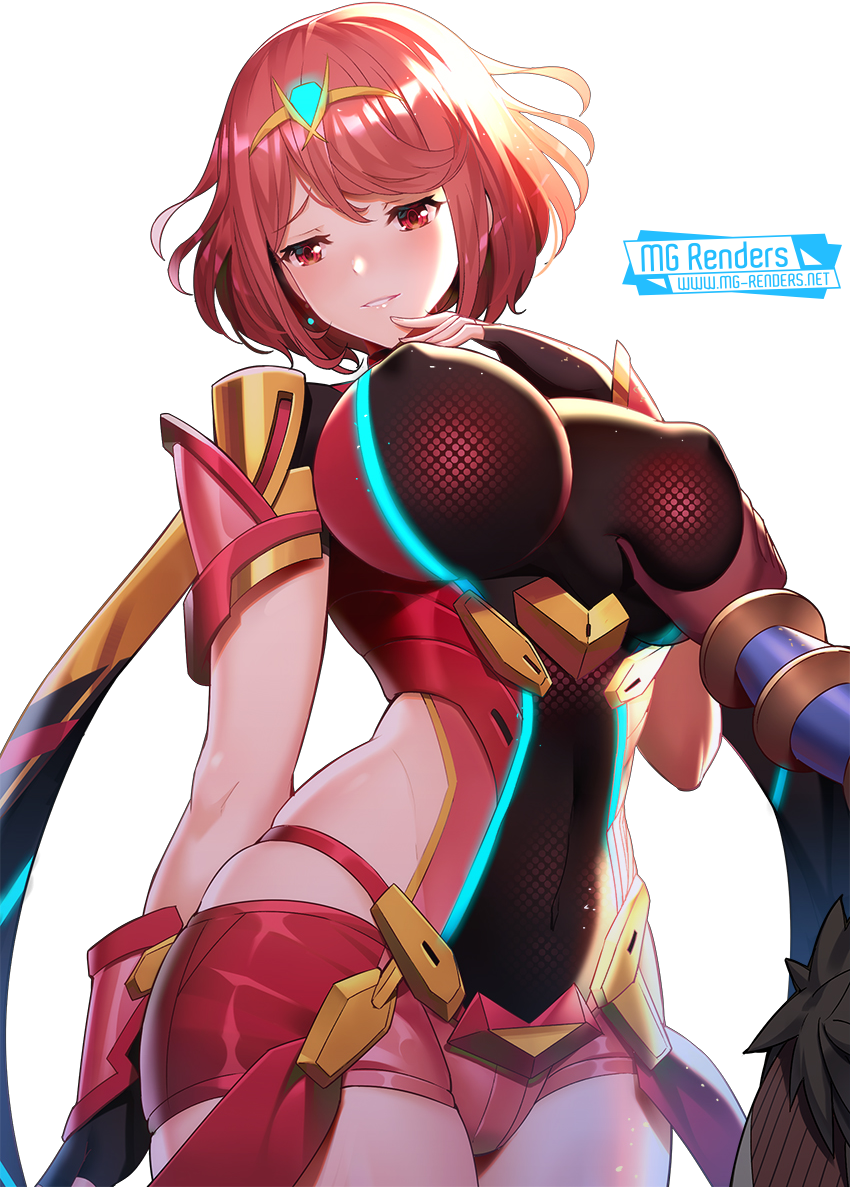 Tags: Anime, Render,  Bodysuit,  Huge Breasts,  Pyra (Homura),  Shorts,  Xenoblade Chronicles 2, PNG, Image, Picture