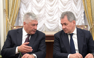 Interior Minister Vladimir Kolokoltsev (left) and Defence Minister Sergei Shoigu.