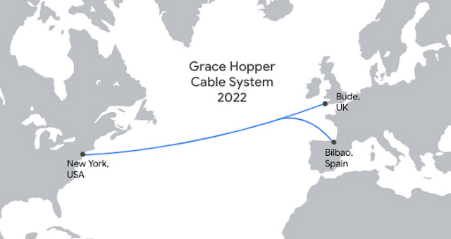 Google announces Grace Hopper subsea internet cable to link the U.S., U.K. and Spain