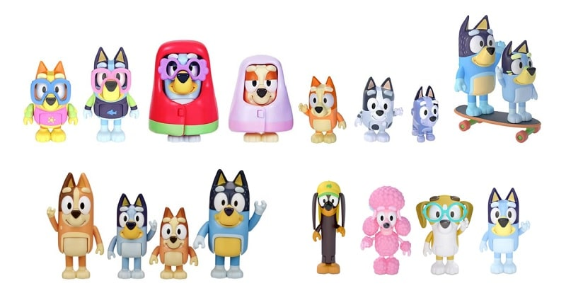 bluey figurine packs including grannies and blueys friends