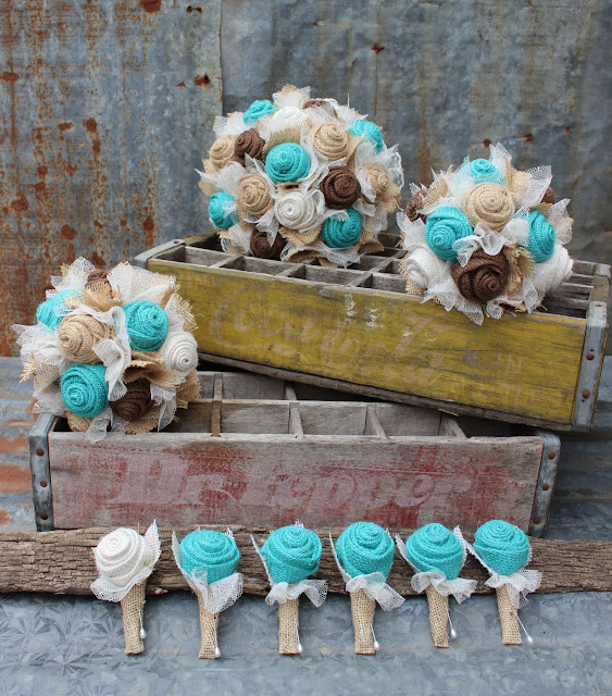 Jade / Aqua / Light Turquoise burlap and lace wedding flowers