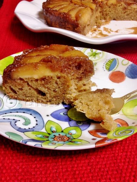 A slice of Caramel Apple Upside Down Cake