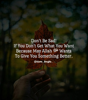 If You Don't Get Something You Want, Than Maybe Allah Wants To Give You Something Better.