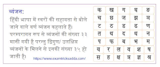 Vyanjan in Hindi